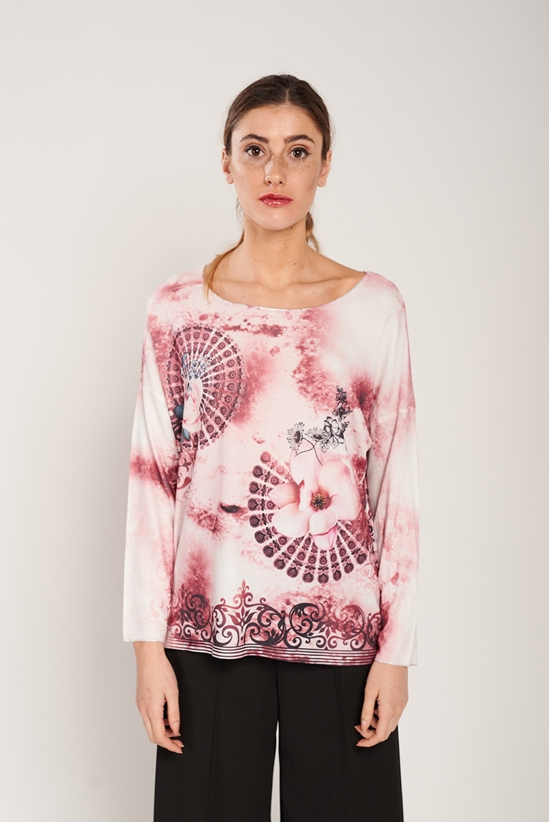 Fine print sweater