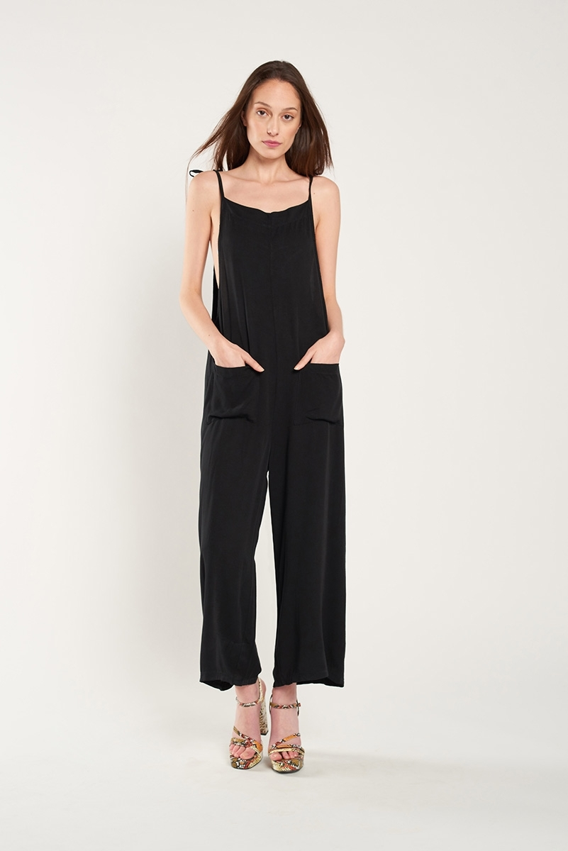 Cropped jumpsuit with pockets