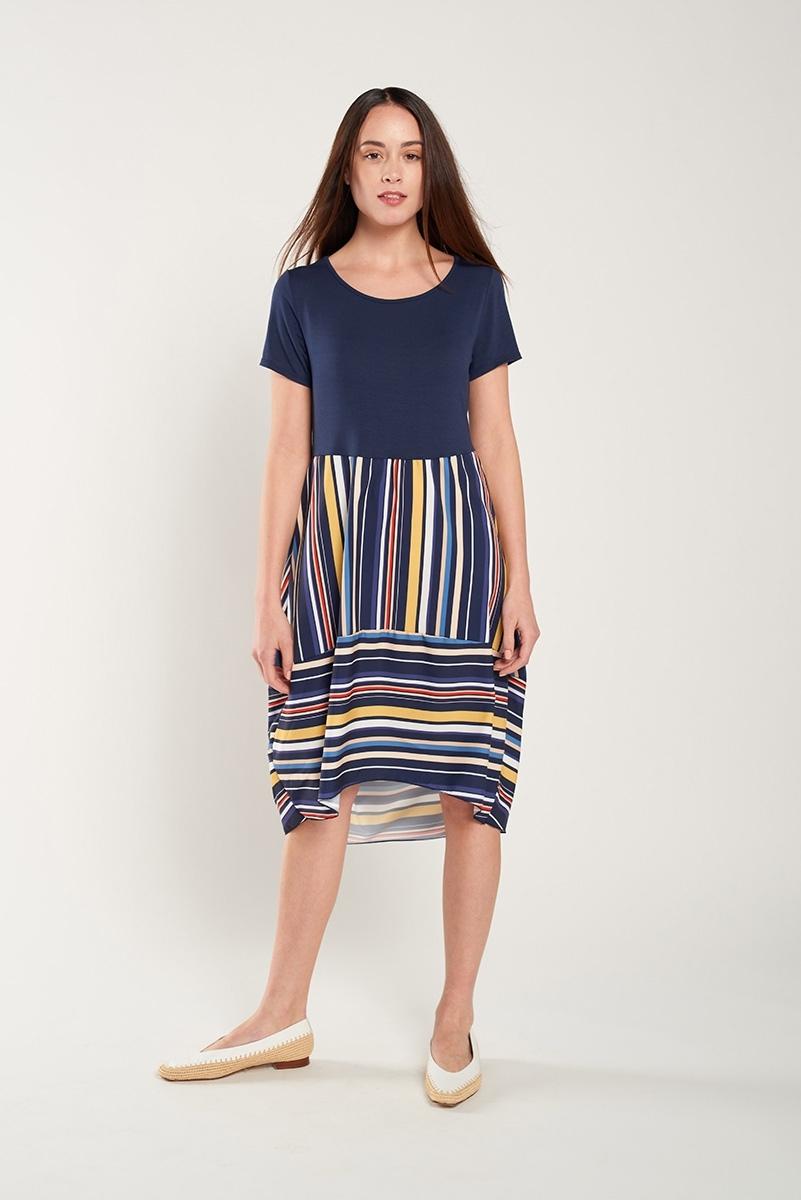 Combined fabrics dress