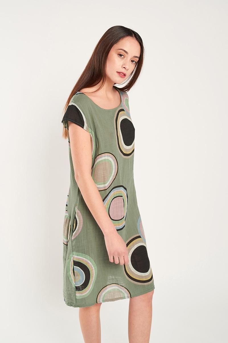 Linen dress circles