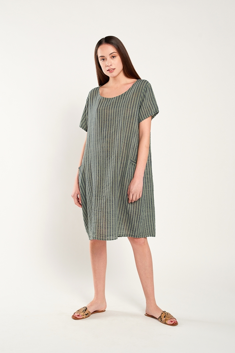 Oversized striped linen dress