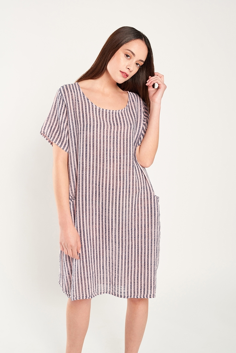 Vestido lino de rayas oversize