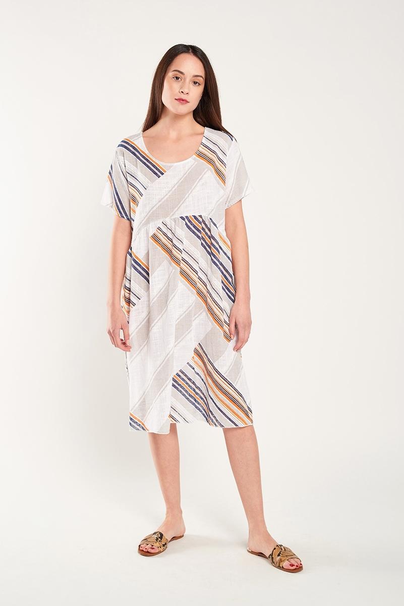 Vestido lino de rayas