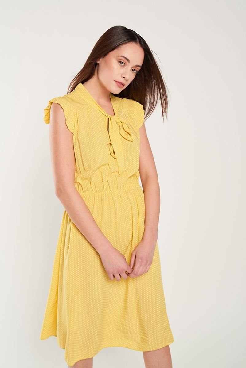 Loose-neck mini-tie dress