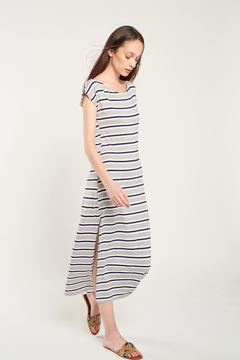 Striped knit long dress