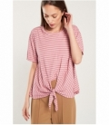 Striped washing effect t-shirt with knot
