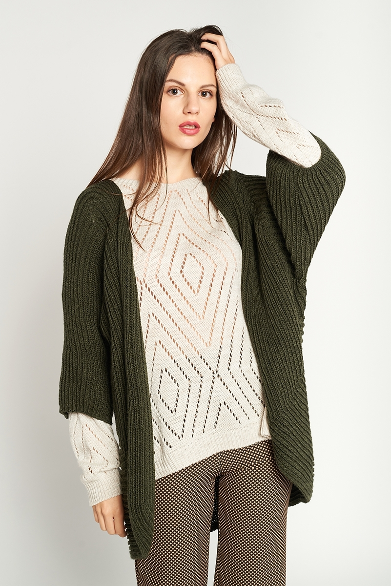 Long thick knit jacket