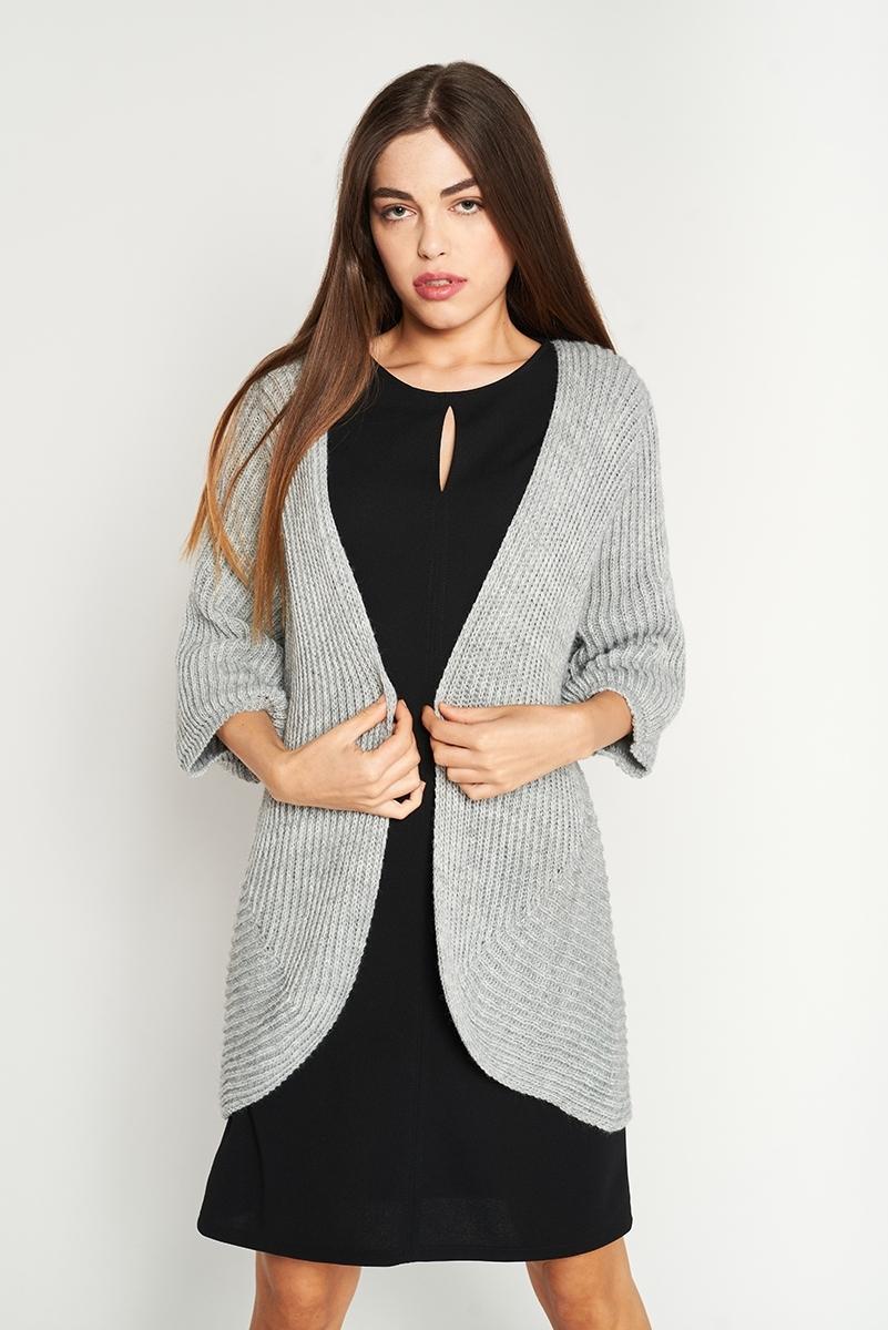 Long thick knit jacket