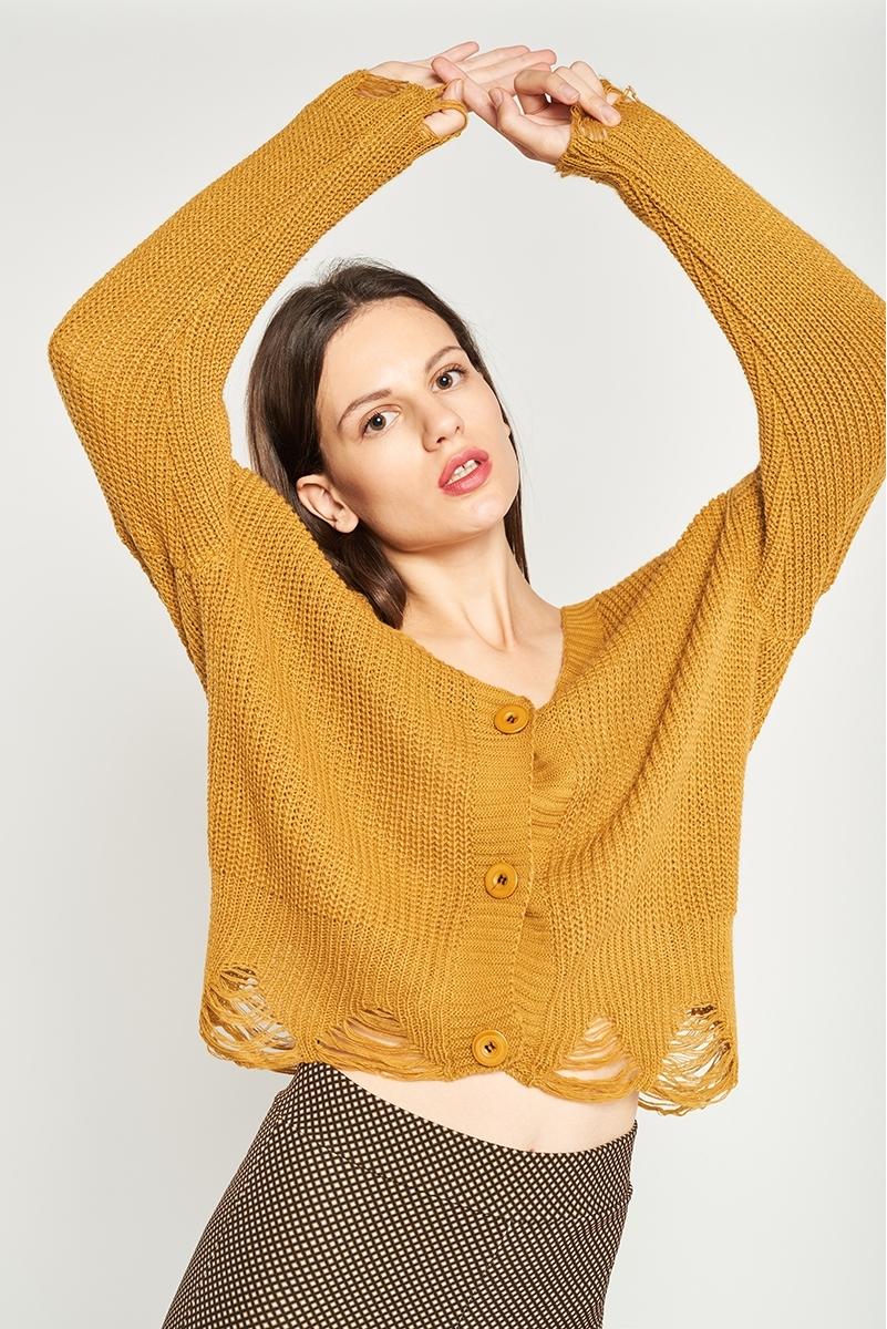 Checked knit jacket