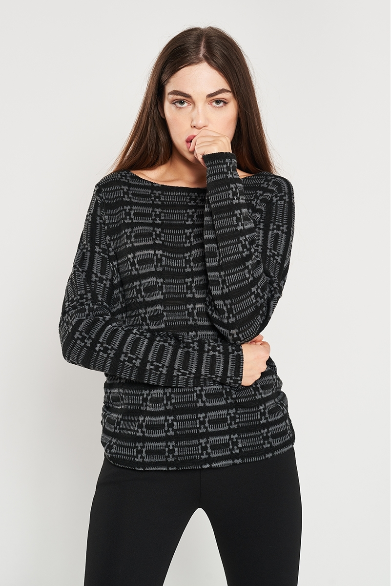 Geometric embossed sweater
