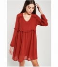 Micro-pleated ruffle dress