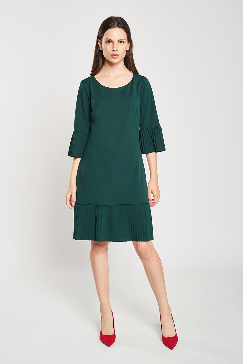 Combined micro-pleated dress