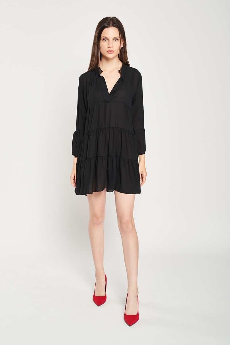 Plain dress with ruched layers