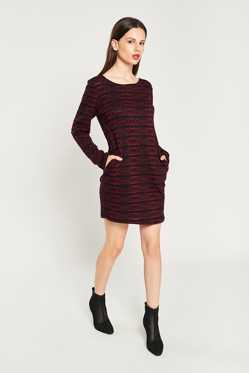 Embossed woven dress