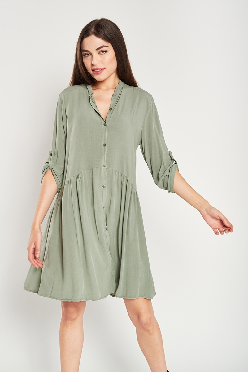Button and gather dress