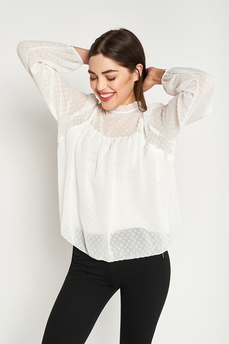 Semi-transparent Plumeti blouse