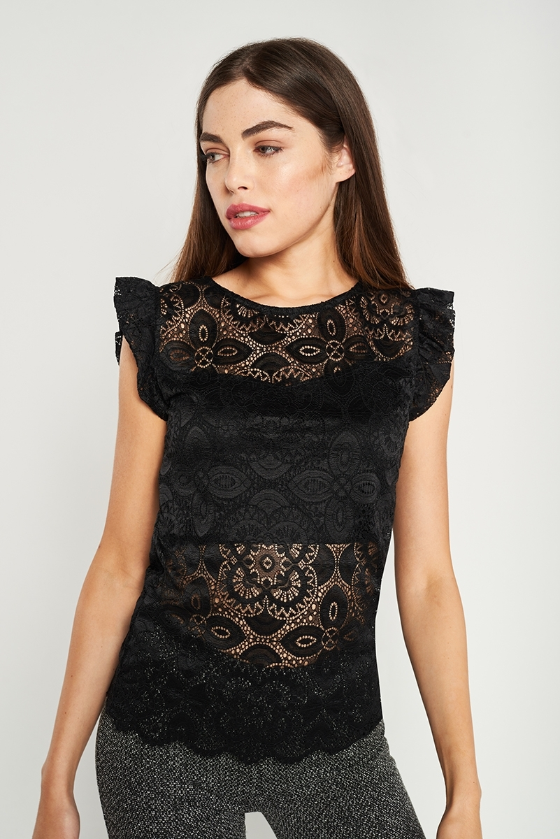 Semitransparent embroidered top
