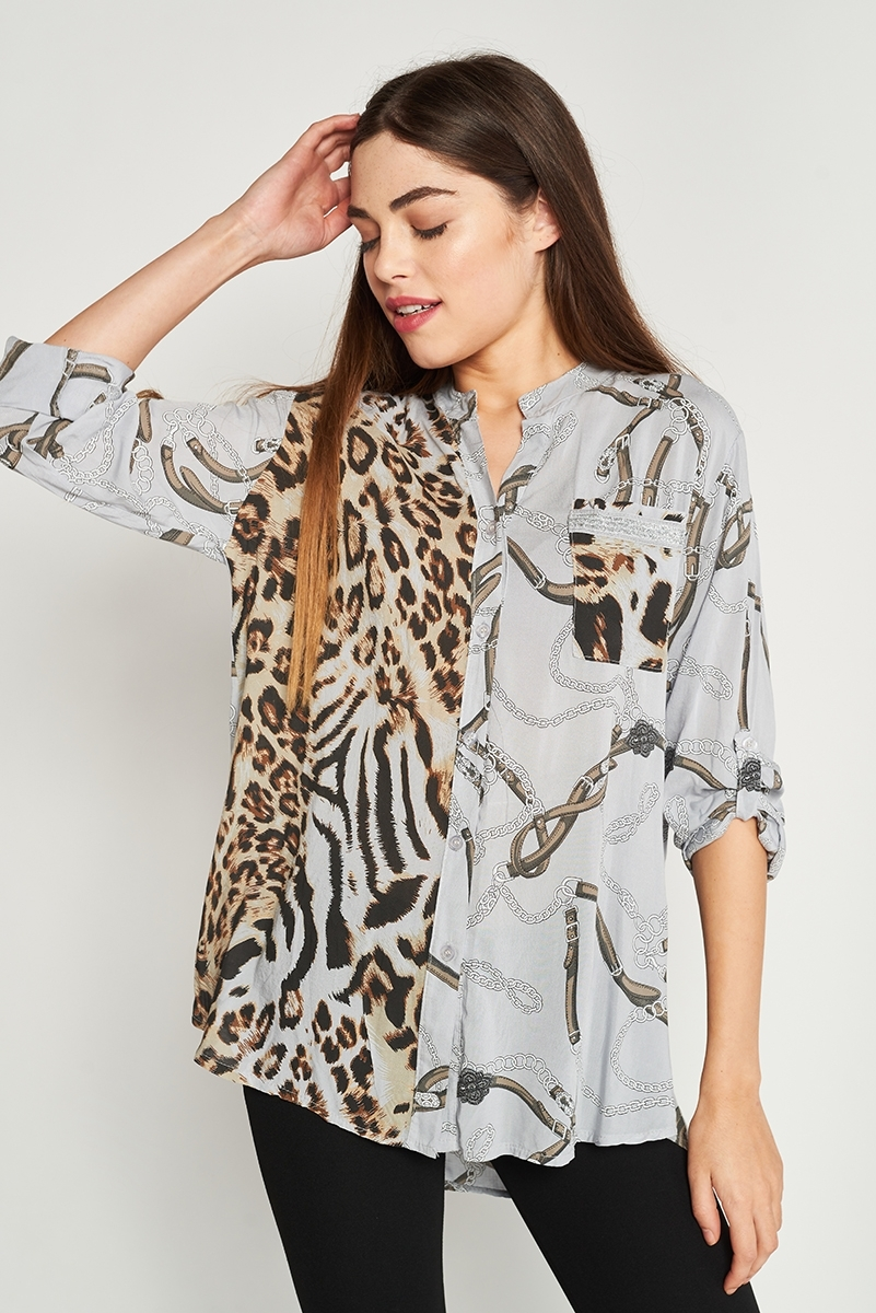 Printed shirt combined with silver appliqué