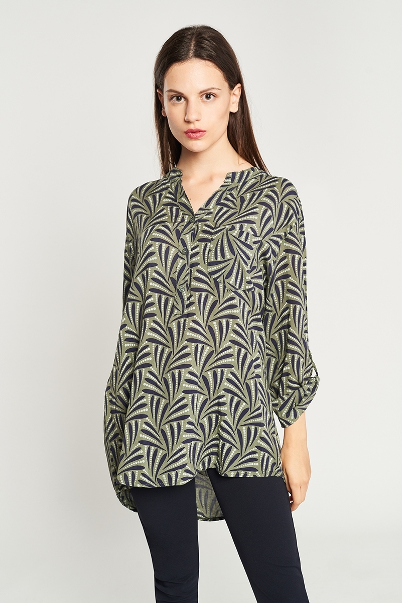 Maho neck print blouse