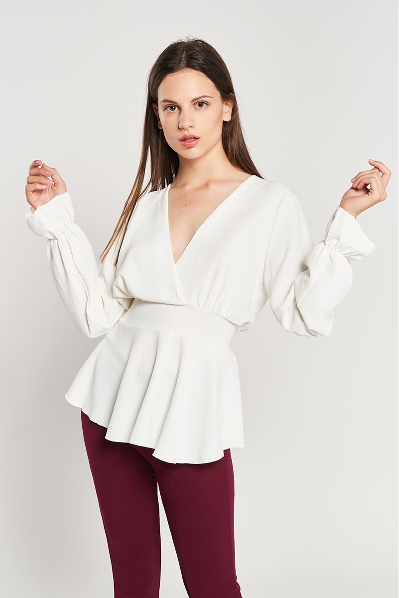 Cross waist blouse