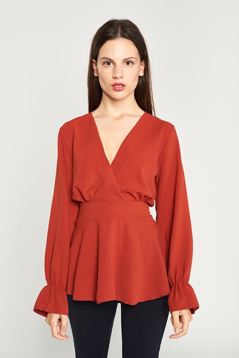 Cross waist blouse