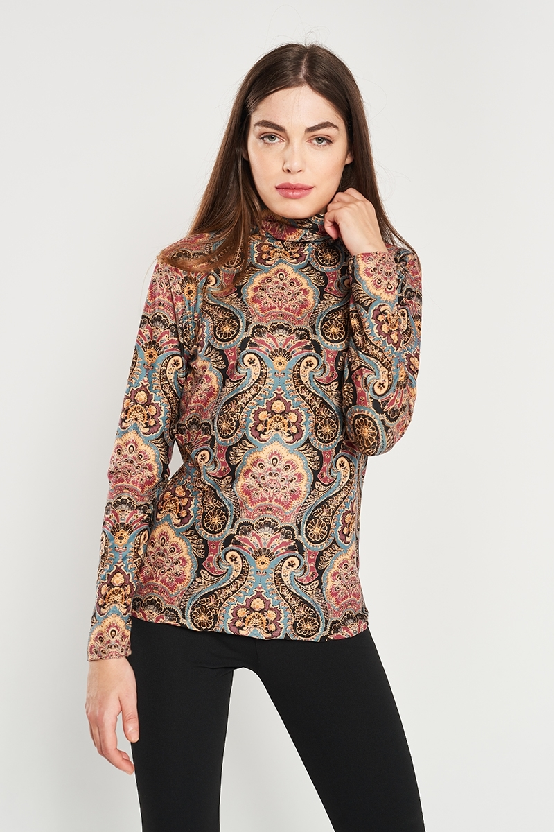 Sequin print polo shirt