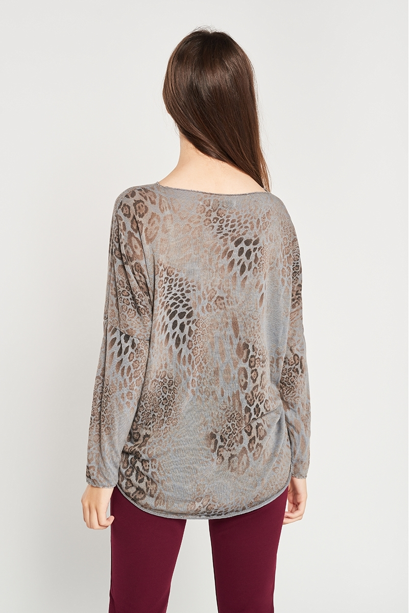 Animal print t-shirt with metallic thread detail