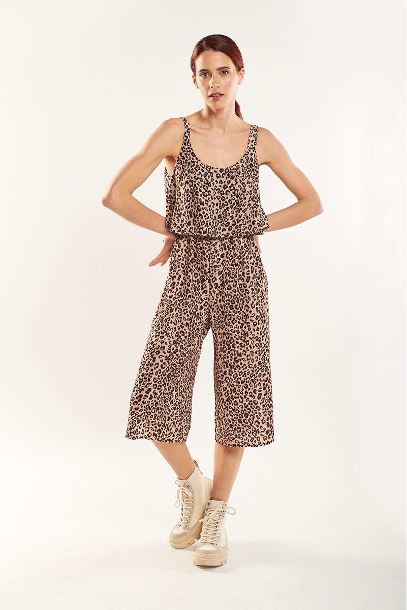 Cropped animal print jumpsuit