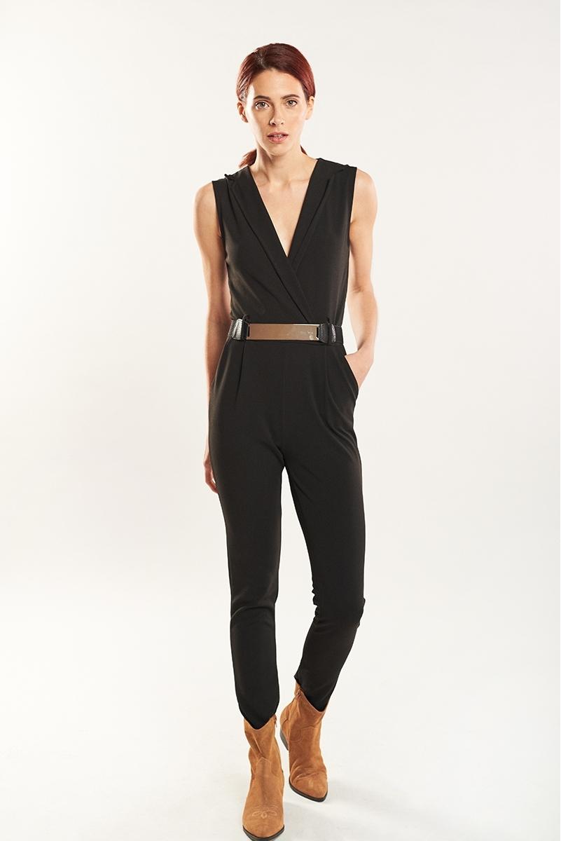 Belt lapels jumpsuit