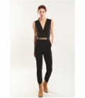 Belt lapels jumpsuit