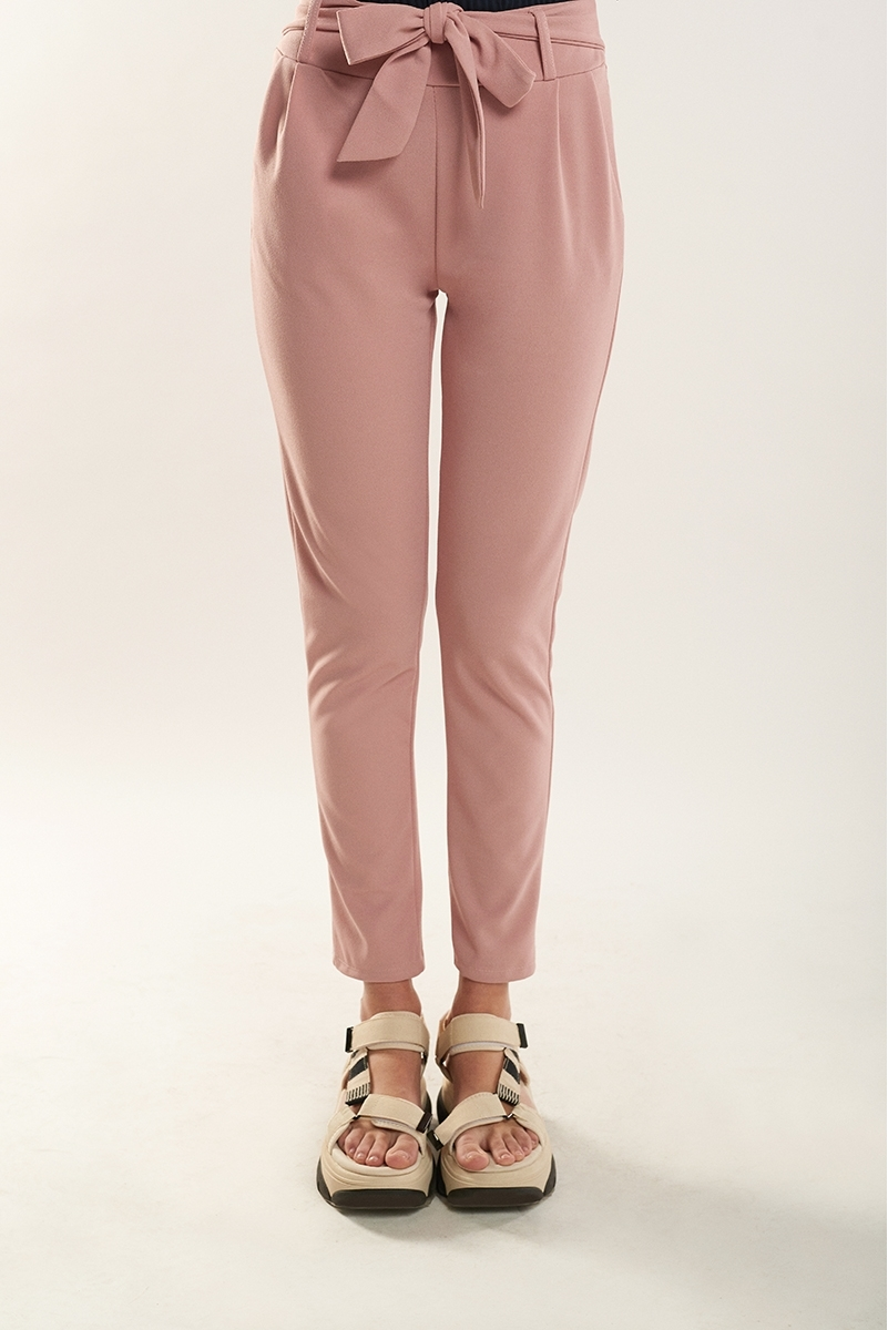 Drawstring pleated trousers