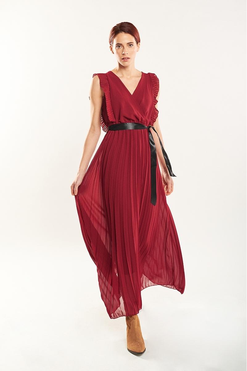 Vestido largo plisado