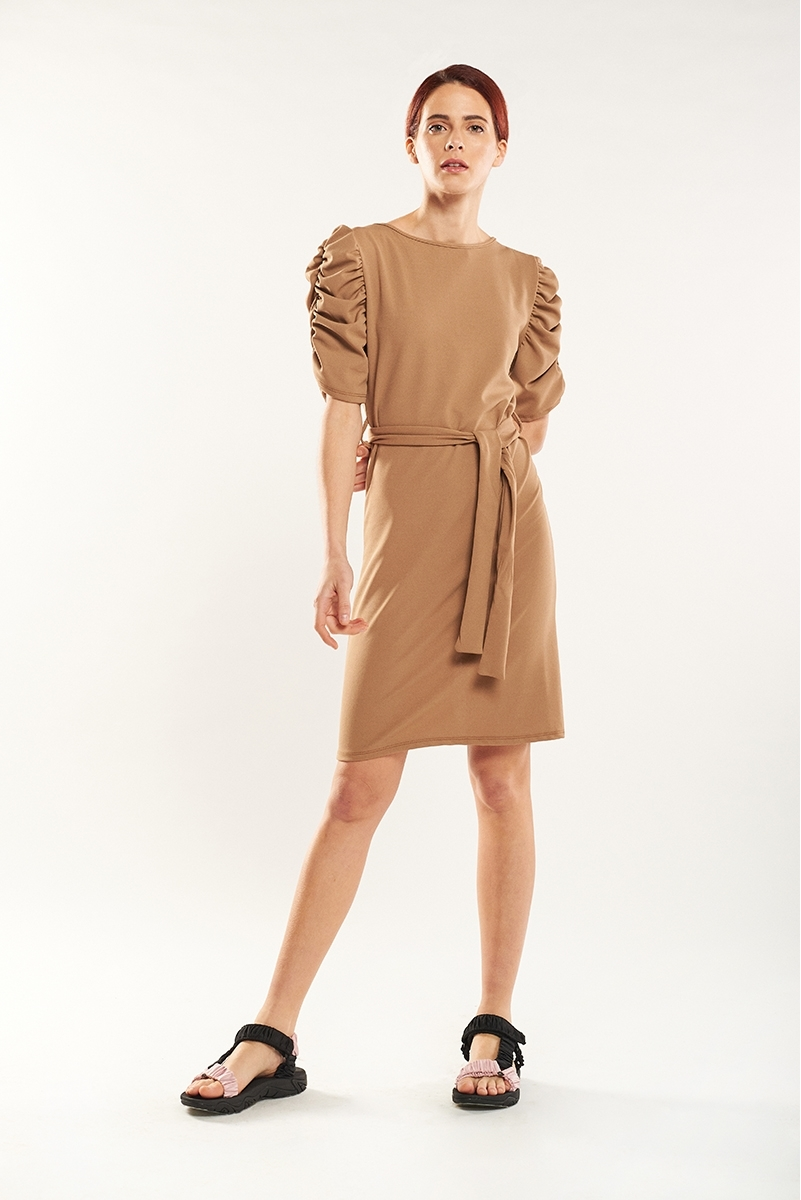 Draped sleeve dress