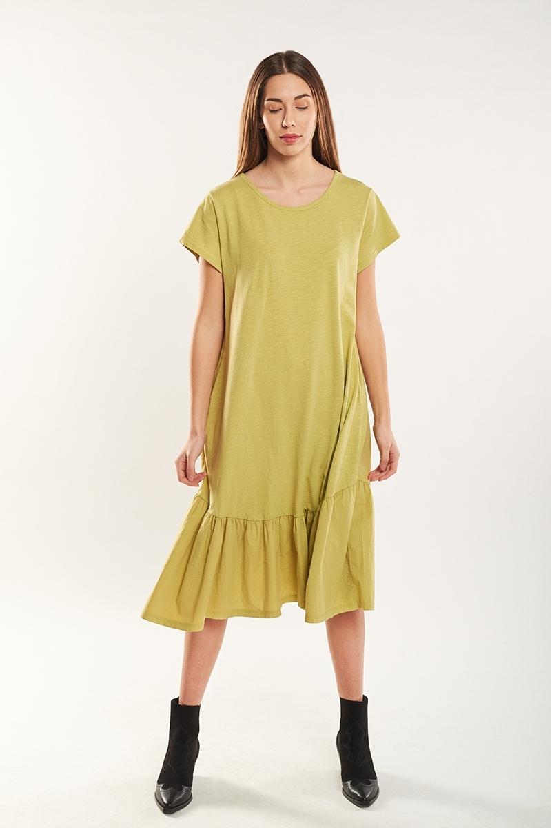 Vestido largo bajo avolantado