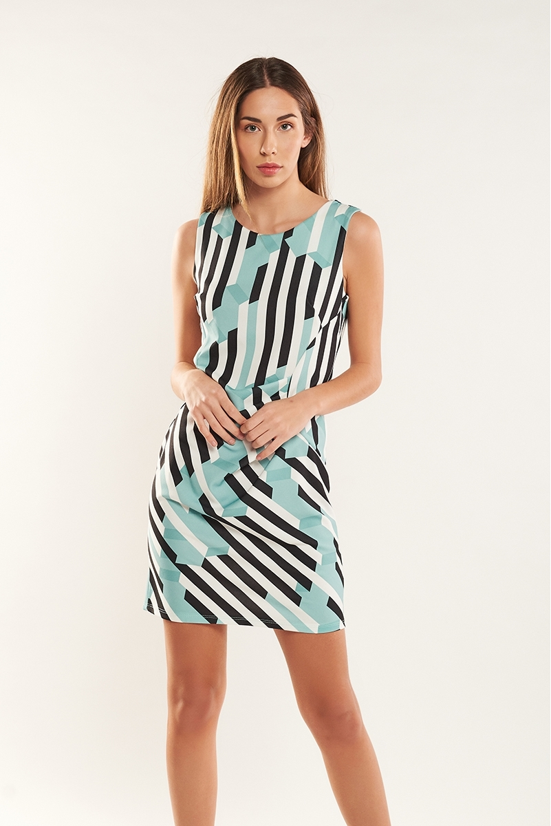 Geometric draped dress