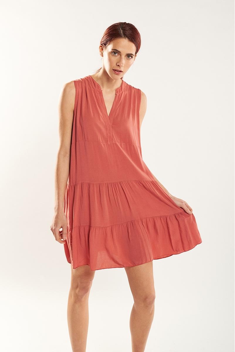 Vestido frunces color
