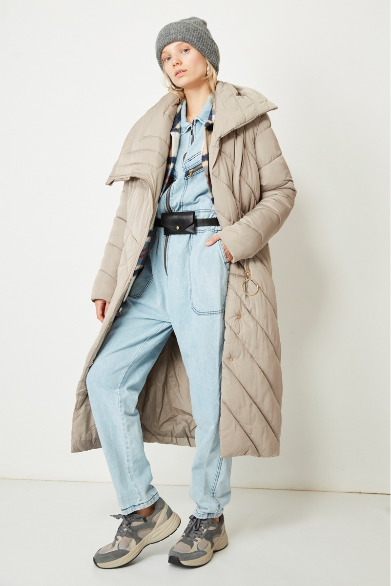 LONG MAXI NECK DOWN JACKET