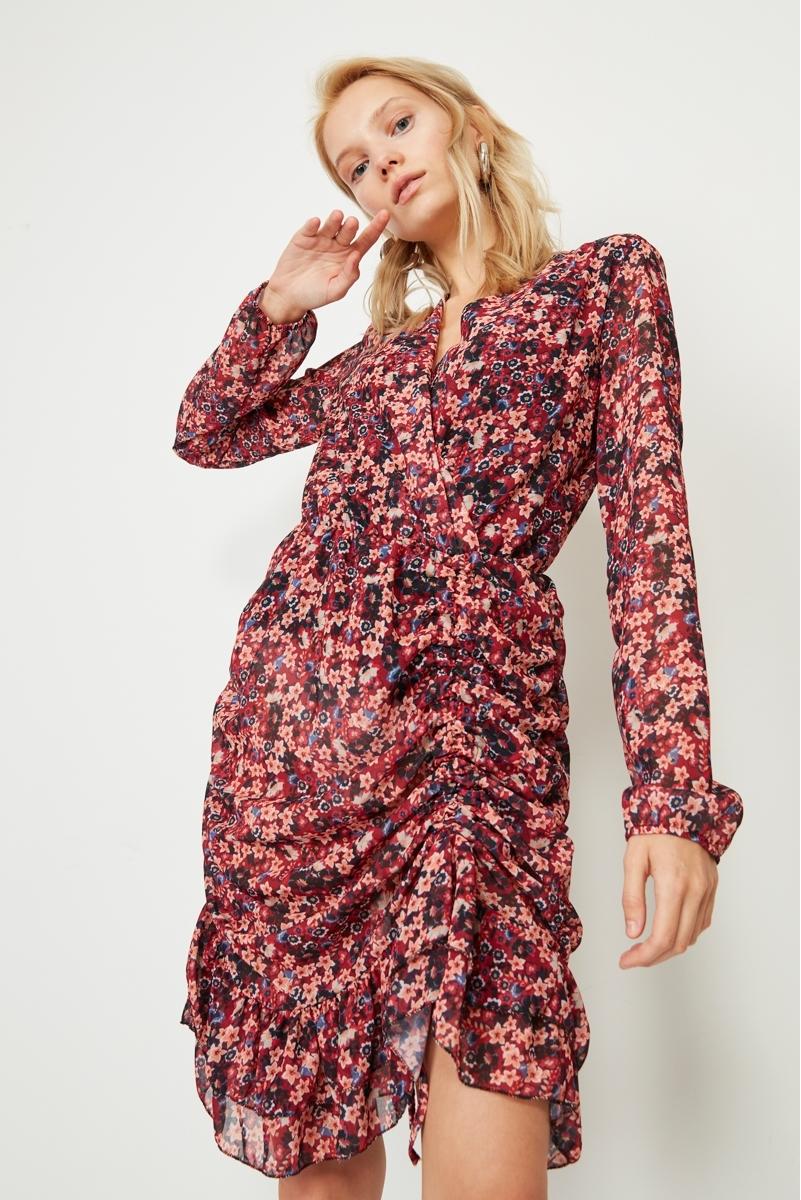 DRAPED FLOWER DRESS