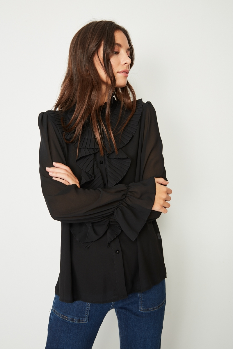 MICROPLEADED RUFFLE BLOUSE